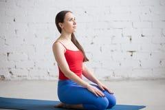 Yoga dentro: Actitud de Vajrasana Fotografía de archivo