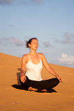 Yoga in the desert Royalty Free Stock Photo