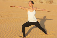 Yoga in the desert Royalty Free Stock Image