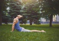 Yoga di addestramento dell'uomo nella posa della cobra all'aperto Fotografie Stock Libere da Diritti