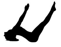 Yoga di addestramento della giovane donna - i pesci propongono isolato Fotografie Stock