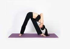 Yoga di addestramento della giovane donna su fondo bianco Immagini Stock