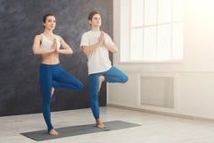 Yoga di addestramento delle coppie nella posa dell'albero Immagini Stock