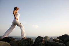 Yoga di alba Immagini Stock