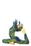 Yoga di doppia esposizione Fotografia Stock