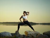 Yoga di mattina Immagine Stock