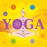 Yoga di parola con la siluetta/posa e le mandale Fotografia Stock