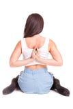 Yoga di pilatos della ragazza isolata sull'esercizio bianco della palestra del fondo Immagine Stock Libera da Diritti