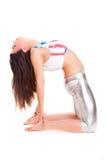 Yoga di pilatos della ragazza isolata sull'esercizio bianco della palestra del fondo Fotografie Stock Libere da Diritti