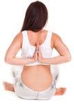 Yoga di pilatos della ragazza isolata sull'esercizio bianco della palestra del fondo Fotografia Stock Libera da Diritti