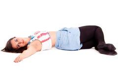Yoga di pilatos della ragazza isolata sull'esercizio bianco di sport del fondo Immagine Stock Libera da Diritti