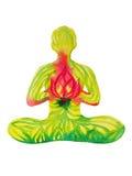 Yoga di posa di Lotus, pittura dell'acquerello, potere astratto di aura, natur Immagine Stock