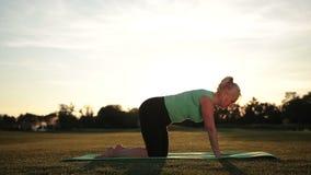 Yoga di pratica della bella donna sportiva in parco video d archivio