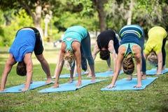 Yoga di pratica della classe di forma fisica Immagine Stock Libera da Diritti