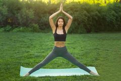 Yoga di pratica della donna all'aperto in parco Fotografia Stock