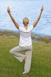 Yoga di pratica della donna da un lago blu tranquillo Immagini Stock Libere da Diritti