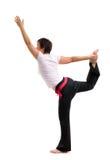 Yoga di pratica della donna matura asiatica Fotografia Stock