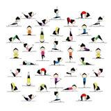 Yoga di pratica della gente, 25 pose per il vostro disegno Fotografia Stock