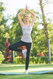 Yoga di pratica della giovane donna all'aperto al parco Fotografia Stock Libera da Diritti