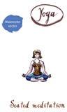 Yoga di pratica della giovane donna, sedentesi nell'esercizio di Ardha Padmasana Immagini Stock
