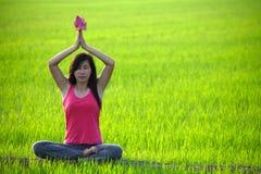 Yoga di pratica della ragazza nel campo di risaia Immagini Stock Libere da Diritti