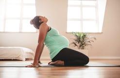 Yoga di pratica di gravidanza della donna in grande aspettativa a casa Immagini Stock