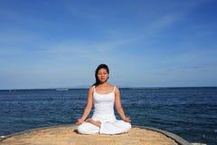 Yoga door Overzees Royalty-vrije Stock Fotografie