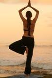 Yoga door zonsondergang Stock Foto