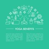 Yoga drar nytta affischen eller iluustrationen för en artikel Arkivfoton