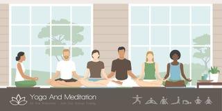 Yoga e meditazione di pratica della gente illustrazione vettoriale
