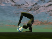 Yoga for the earth - 3D render Royalty Free Stock Image
