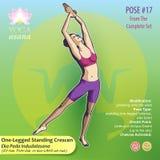 17 YOGA Eka Pada Indudalasana. Iillustration of Yoga Exercises with full text description, names and symbols of the involved chakras. Female figure showing the Stock Image