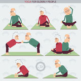 Yoga for Elderly people.Vector illustration Stock Image