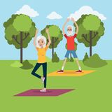 Yoga for elderly. Senior people doing yoga at park stock illustration