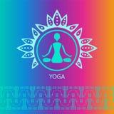 Yoga emblem bright rainbow background lotus Stock Photo