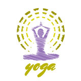 Yoga Emblem. Colored yoga emblem with a figure of meditating woman Stock Images