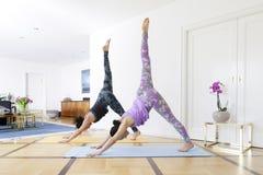 Yoga en casa abajo de la actitud partida del perro Foto de archivo