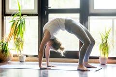 Yoga en casa: Actitud del puente Fotos de archivo