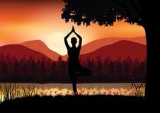 Yoga en mooie aard, illustratievector Royalty-vrije Stock Foto