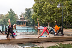 Yoga en parc Photographie stock