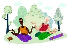 Yoga en stationnement illustration libre de droits