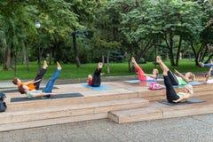 Yoga en un parque Foto de archivo libre de regalías