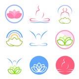Yoga en zen emblemenvector Royalty-vrije Stock Afbeeldingen