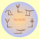 Yoga ensemble Pratique en matière d'asana de yoga d'Acro Vecteur Photos libres de droits