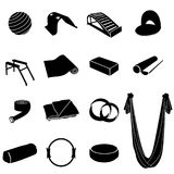 Yoga equipment set. Simple yoga and pilates equipment set. Black and white yoga icons Royalty Free Stock Photography