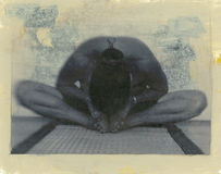 Yoga Essence. Photo based mixed medium image of woman in the classic yoga posture Baddha Konasana (Bound Angle Pose) or Cobblers Pose.  Organic treatment Stock Image