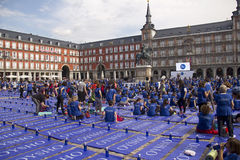 Yoga event on Plaza Mayor in Madrid, Spain Royalty Free Stock Photos