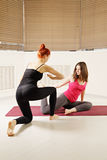 Yoga exercise in class Royalty Free Stock Images