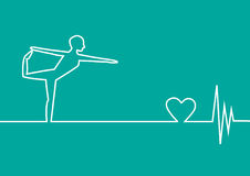 Yoga exercise with EKG heart on green background, design Royalty Free Stock Photography