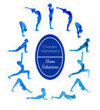 Yoga exercise Moon salutation Stock Photography